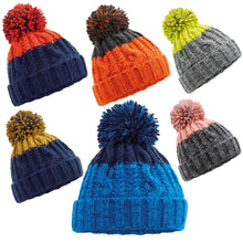 Load image into Gallery viewer, Beechfield Apres Ski Bobble Beanie Hat BC547 Oxford Navy/Red