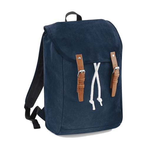 Quadra Vintage Canvas Backpack QD615 Embroidery French Navy-Custom Teamwear
