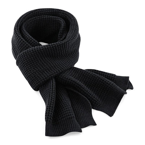 Adonis & Grace Classic Waffle Knit Scarf Black - BrandClearance