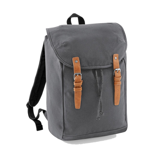 Quadra Vintage Canvas Backpack QD615 Embroidery Graphite Grey-Custom Teamwear