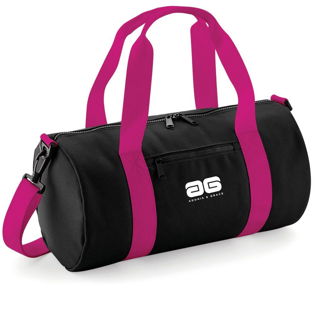 Adonis & Grace Mini Barrel Gym or Work Carry Bag Black Pink-Custom Teamwear