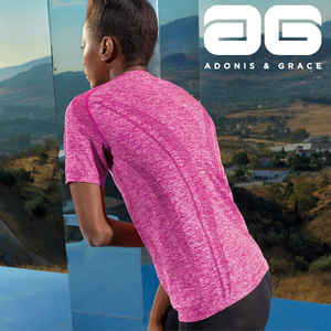 Adonis & Grace Womens Seamless 3D Long Sleeve Top Pink