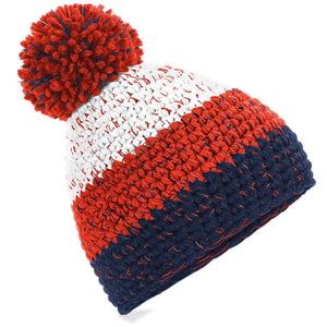 Beechfield Freestyle Ski Winter Bobble Hat BC436 White Red-Custom Teamwear