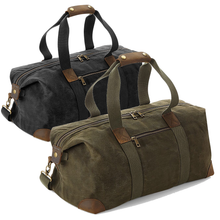 Load image into Gallery viewer, Quadra Luxury Heritage Classic Waxed Holdall QD650 Black-Custom Teamwear