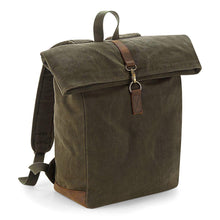 Load image into Gallery viewer, Quadra Heritage Waxed Canvas BackPack QD655 Military Green-Custom Teamwear