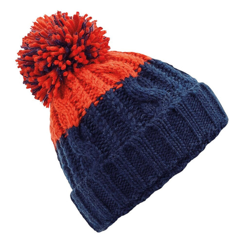 Beechfield Apres Ski Bobble Beanie Hat BC437 Oxford Navy/Red-Custom Teamwear