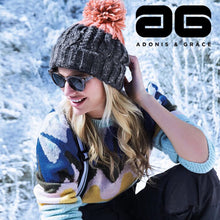 Load image into Gallery viewer, Beechfield Apres Ski Bobble Beanie Hat BC437 Graphite Grey Pink-Custom Teamwear