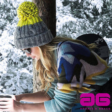 Load image into Gallery viewer, Beechfield Apres Ski Bobble Beanie Hat BC547 Light Grey Citron