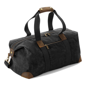 Quadra Luxury Heritage Classic Waxed Holdall QD650 Black-Custom Teamwear