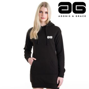 Adonis & Grace Relaxed Hoodie Dress Black-Custom Teamwear