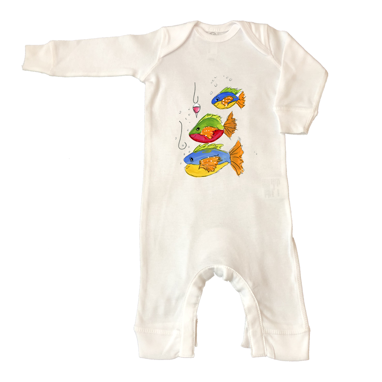 Rib Coverall Infant Baby 1024-Fish-and-Hooks