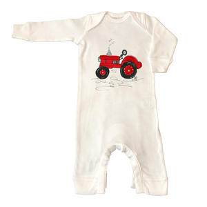 Rib Coverall Infant Baby 1042-Red-Tractor