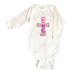 Bodysuit Long Sleeve 1065-Pink-Bless-this-Child-Cross