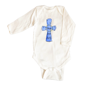 Bodysuit Long Sleeve 1066-Blue-Bless-this-Child-Cross