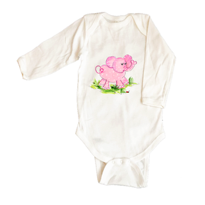 Bodysuit Long Sleeve  249-Pink-Elephant