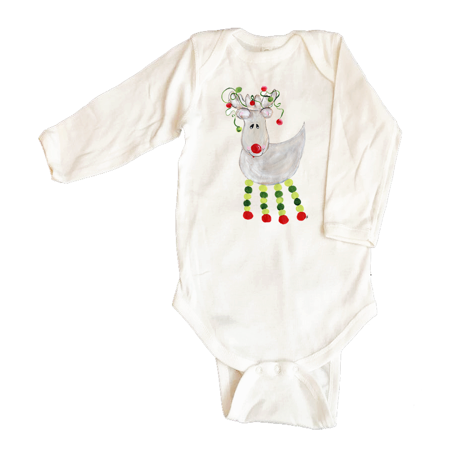 Rib Coverall Infant Baby Christmas 464-Green-Leg-Reindeer