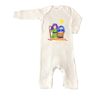 Rib Coverall Infant Baby Christmas 728-Nativity-Scene