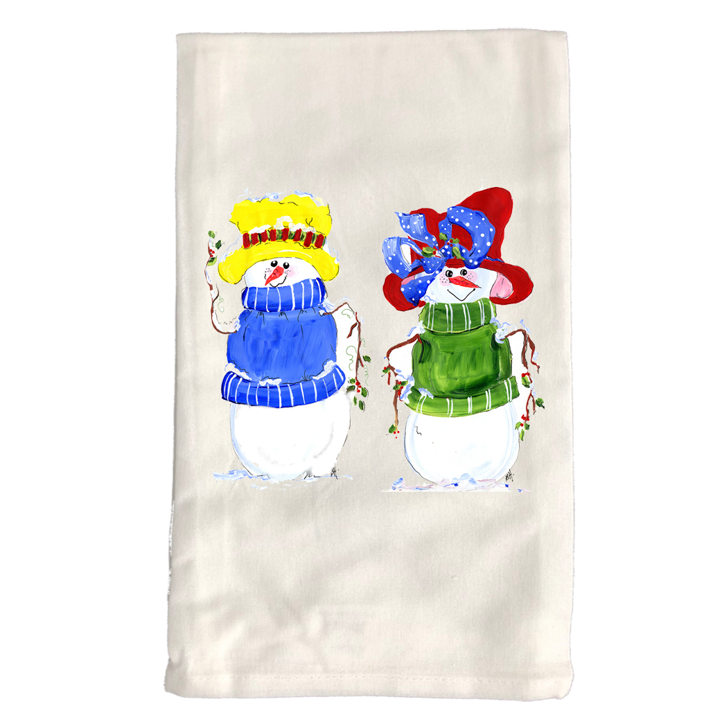 Kitchen Towel Christmas KTSnowmen-Red-and-Yellow-HatsW