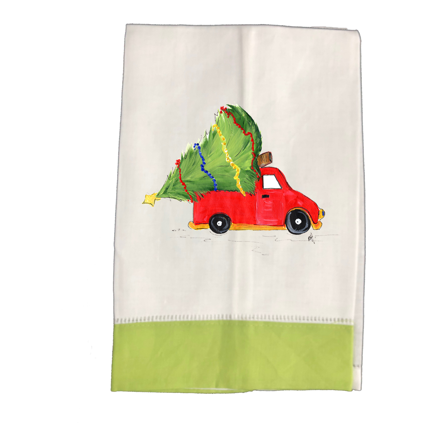 Tea Towel  Christmas Truck-w-treeLG