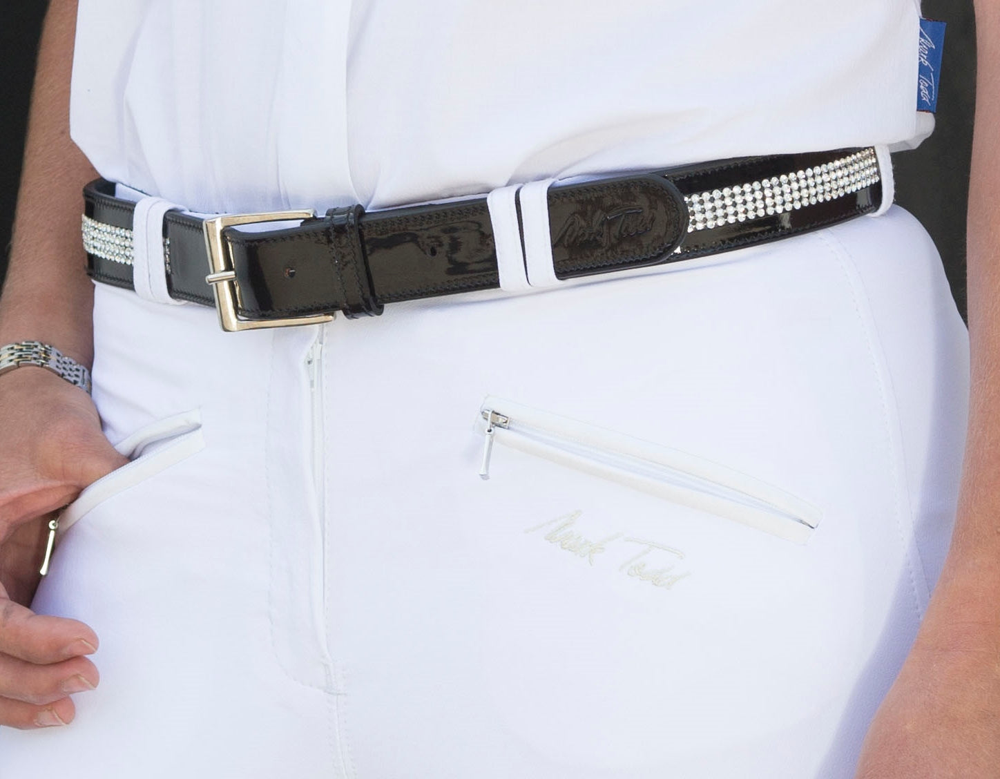 Mark Todd Leather Diamante Belt Large