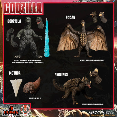 [PRE-ORDER] MEZCO 5 Points XL Godzilla: Destroy All Monsters (1968) Round 1 Boxed Set