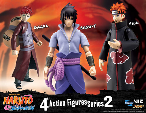 Toynami Naruto Shippuden 4-Inch Poseable Action Figure Series 2 (Gaara, Sasuke, Pain Action Figure Set) Case of 12