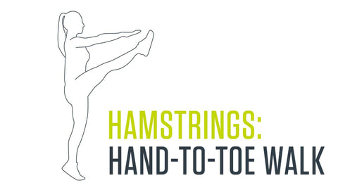 Dynamic stretch for hamstrings: hand-to-toe walk