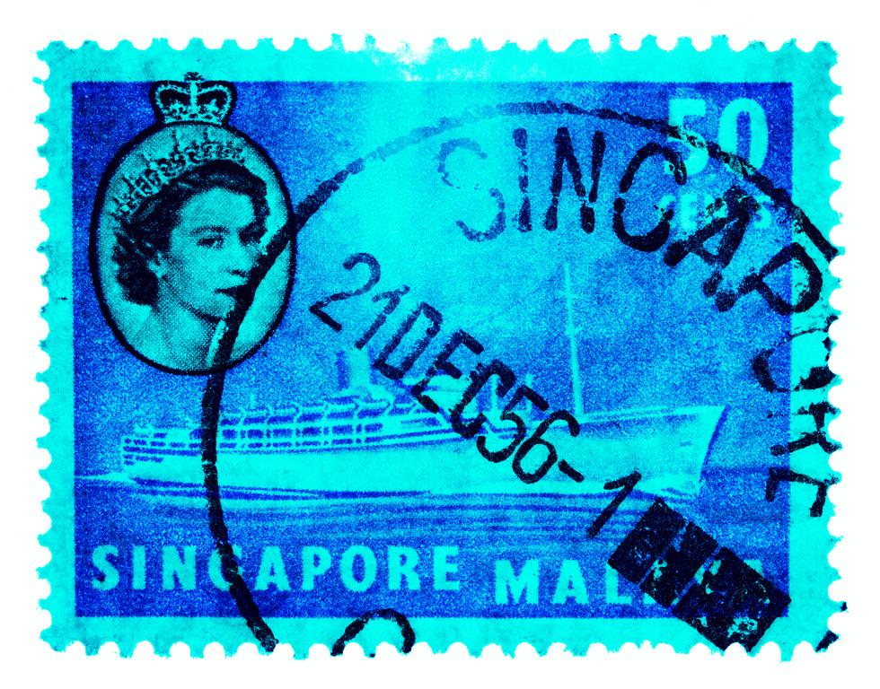 50 Cents QEII Steamer Ship Cyan
