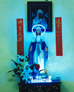 Ave Maria, religious icon with neon halo