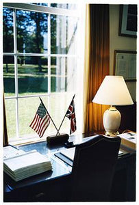 Flags & Desk, Cambridge American Cemetery, 1993