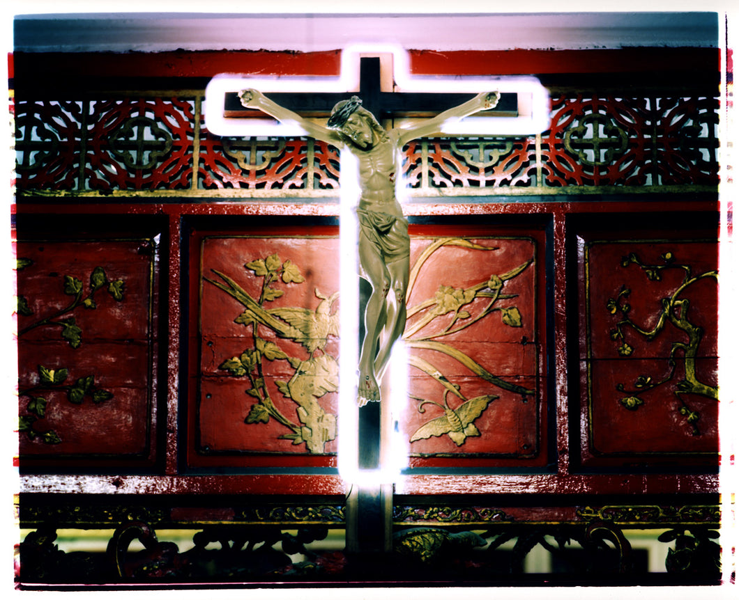 Jesus on a neon cross