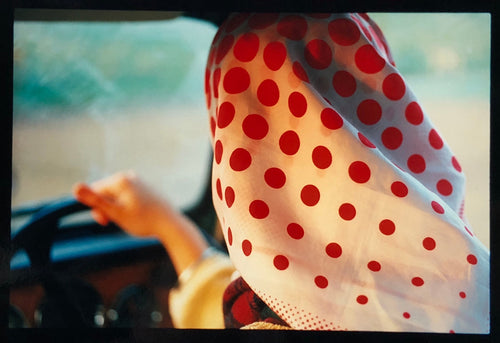 Anita, Lady Fen, Welney is an autobiographical piece recreating Richard's childhood memory of the Sunday drive with his parents, his mother driving in her Marks and Spencer polka dot head scarf which was a popular look in the 1960's.