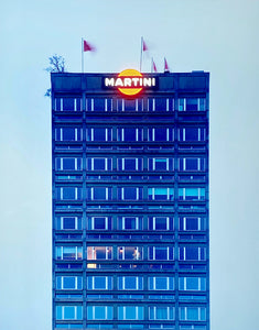 Central Milan's rooftop bar Terazza Martini, is the subject of Richard Heeps' 'Blue Martini, Milan, 2019', taken as part of his series 'A Short History of Milan'. There is a reoccurring linear, structural theme throughout the series, capturing the Milanese use of materials in design such as glass, metal, wood and stone.