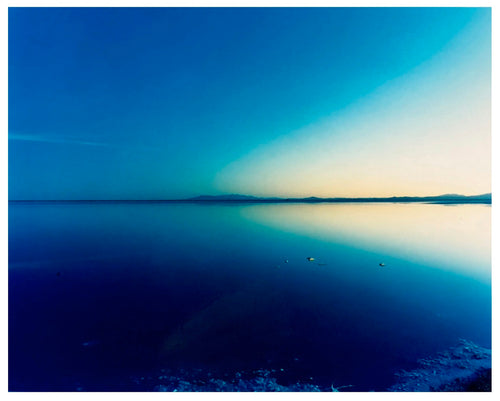 Endless shades of blue in this dreamy American landscape photograph taken at the Bonneville Salt Flats.