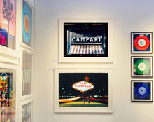 Load image into Gallery viewer, Cordial Campari, photographed as part of Richard Heeps' series 'A Short History of Milan' features beautiful and bold typography above the striped awning of a fascist building.
