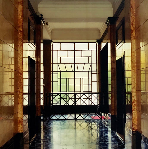 An art deco style, geometric patterned foyer, photographed by Richard Heeps in Milan.