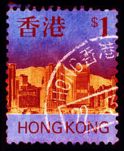 Load image into Gallery viewer, HK$1, 2017. Heidler & Heeps Stamp Collection, Hong Kong Series. The fine detailed tapestry of the original small postage stamp has been brought to life, made unique by the franking stamp and Heidler & Heeps specialist darkroom process.