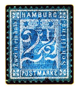 1864 Hamburg Two & a Half Shilling (Blue), 2016