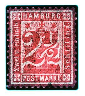 1864 Hamburg Two & a Half Shilling (Crayon Red), 2016