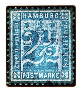 1864 Hamburg Two & a Half Shilling (Teal), 2016