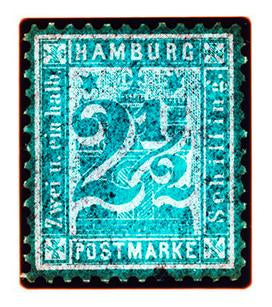 1864 Hamburg Two & a Half Shilling (Turquoise), 2016