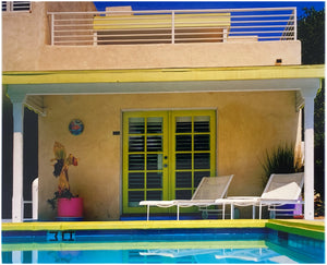 Palm Springs Pool Side II showcases classic mid-century Palm Springs California architecture. Cool blue skies and pool with accents of pink and almost neon yellow. From Richard Heeps Dream in Colour series.