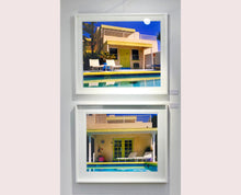 Load image into Gallery viewer, Palm Springs Pool Side II showcases classic mid-century Palm Springs California architecture. Cool blue skies and pool with accents of pink and almost neon yellow. From Richard Heeps Dream in Colour series.