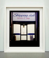 Load image into Gallery viewer, Shopping Club shows typography on a frosted glass window in Milan, Italy.