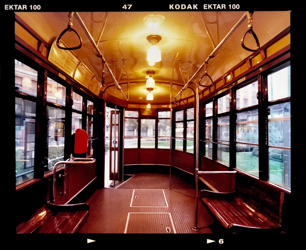 Vintage tram interior, captured in Milan. Affordable fine art limited edition photographic prints, handmade in Richard's Cambridge darkrooms.