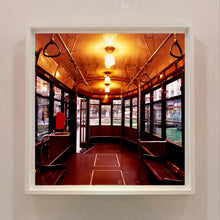 Load image into Gallery viewer, The interior of a vintage Italian tram in Lambrate, Milan. Affordable fine art limited edition photographic prints, handmade in Richard's Cambridge darkrooms.