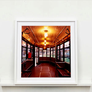 The interior of a vintage Italian tram in Lambrate, Milan. Affordable fine art limited edition photographic prints, handmade in Richard's Cambridge darkrooms.