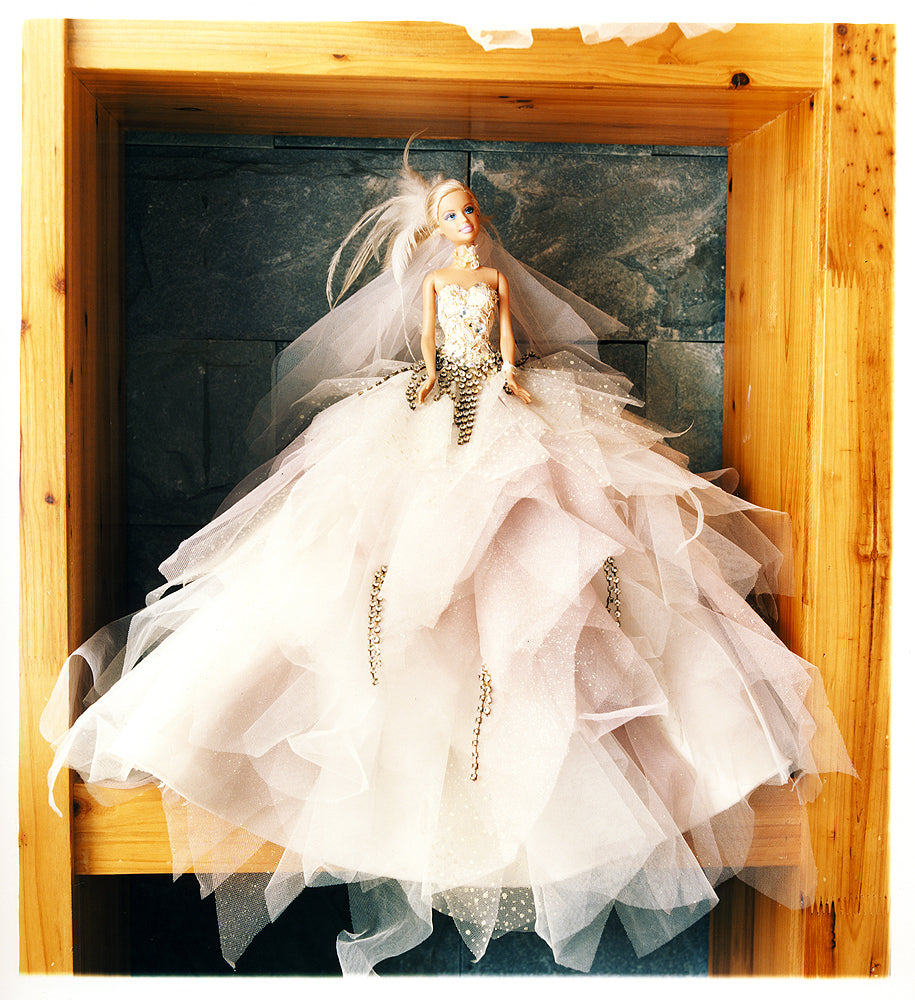 Barbie doll in a wedding dress on a shelf in China