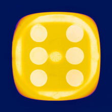 Load image into Gallery viewer, From Heidler & Heeps Dice Series, a yellow dice suspended on an inky blue background.