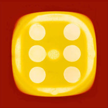 Load image into Gallery viewer, From Heidler & Heeps Dice Series, a yellow dice suspended on a red background.